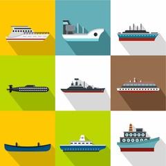 Yacht icons set, flat style