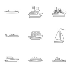 Ocean transport icons set, outline style