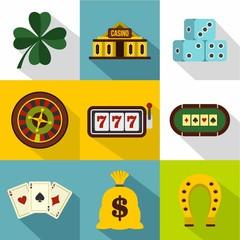 Gambling icons set, flat style