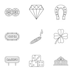 Casino game icons set, outline style