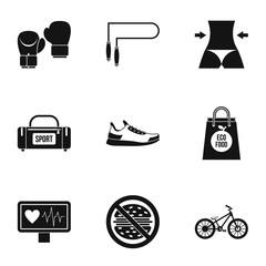 Sport icons set, simple style