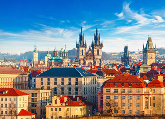 Photo sur Plexiglas Prague High spires towers of Tyn church in Prague city Our Lady before