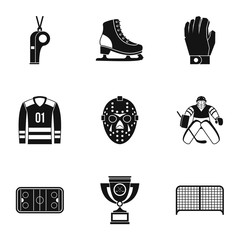 Canadian hockey icons set, simple style