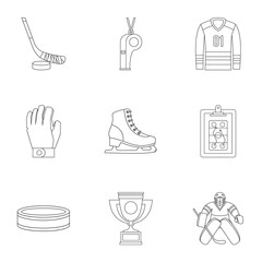 Hockey game icons set, outline style