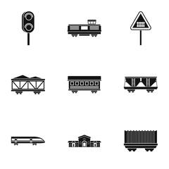 Railway transport icons set, simple style
