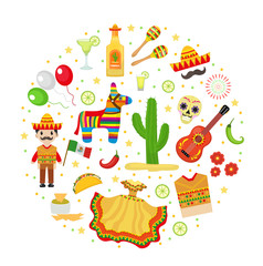 Cinco de Mayo celebration in Mexico, icons set in round shape, design element, flat style. Vector illustration