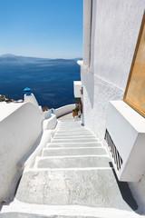 White stairs in Santorini
