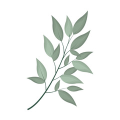 green foliage icon over white background. colorful design. vector illustration
