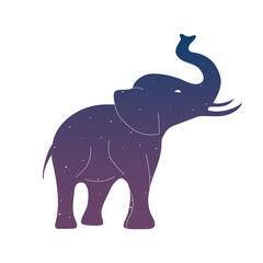 elephant icon symbol silhouette space blue and purple sky star hipster vector