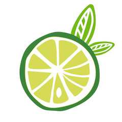cut fruit lime with leaves icon vector