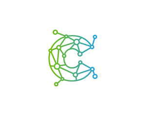 Letter C Connected Circle Network Icon Logo Design Element