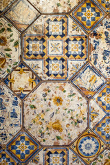 Laid decorative wall tiles with ornament
