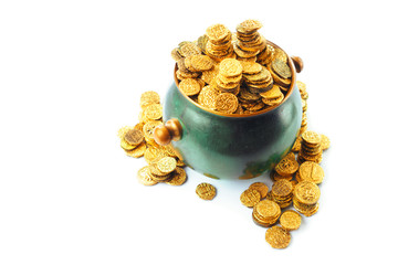 pot full of gold coins on a isolated on white / saint patricks day concept
