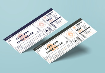 Ticket Style Wedding Invitation Layout 1
