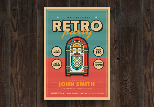 Retro Style Party Flyer Layout