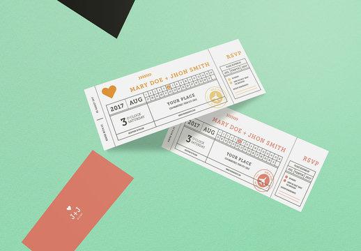 Ticket Style Wedding Invitation Layout 2