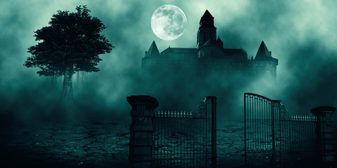 .Horror halloween haunted house in creepy night forest.	 Wall mural