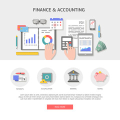 Set of flat design illustration concepts for business, finance, payment and banking, work space top view. Concepts for web banner and printed materials, vector illustration.