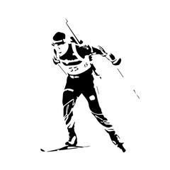 Biathlon racer, abstract vector silhouette