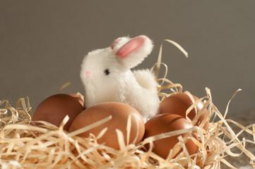 Easter rabbit inside a sieve full of easter eggs on rustic wood