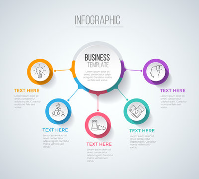 Five steps infographics with main option, business data visualization, process chart