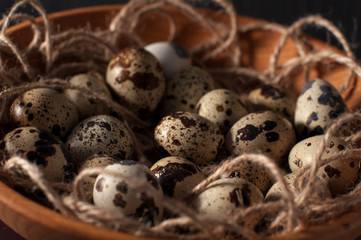 quail eggs in wooden bowl isolated on blue background close up