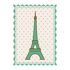 frame with silhouette of eiffel tower with background dotted vector illustration
