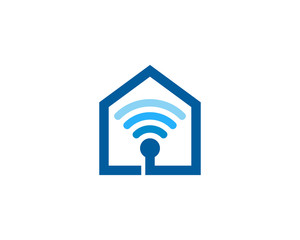 Wifi House Icon Logo Design Element