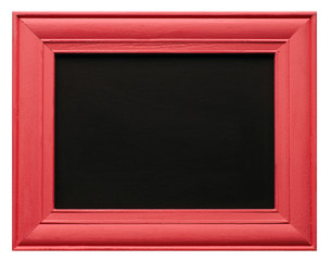 Red picture frame with blackboard inner, isolated on white background.