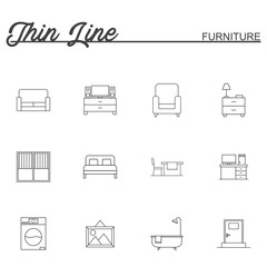 Home, interior, furniture and more, thin line icons set, vector