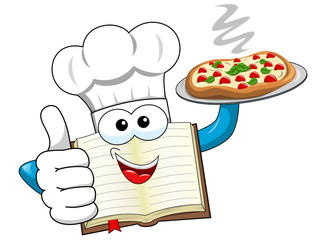 Cook book mascot wearing hat serving plate pizza isolated