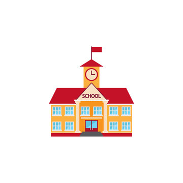 school building icon vector, solid logo, colorful pictogram isol