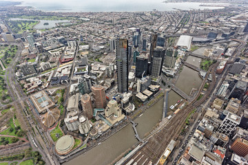 Aerial view over Southbank, Melbourne, under overcast skies (Victoria, Australia)