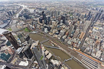 Aerial view over Southbank and Melbourne CBD under overcast skies (Victoria, Australia)