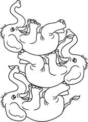 turm 3 freunde team zirkus kunststück spaß trick spielen klein elefant lustig comic cartoon spaß lachen