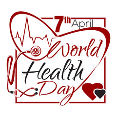 World Health Day. 7 April. Typographic design. Health Day lettering card with heart cardiogram and stethoscope. Vector illustration