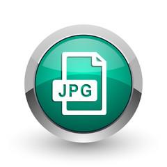 Jpg file silver metallic chrome web design green round internet icon with shadow on white background.