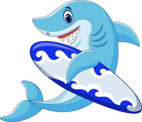 Cartoon shark holding surfboard