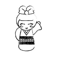 kokeshi doll geisha decorative sketch vector illustration eps 10