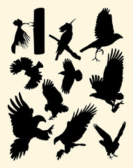 Flying birds silhouette. Good use for symbol, logo, web icon, mascot, sign, or any design you want.