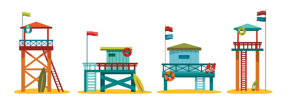 Collection of lifeguard station.