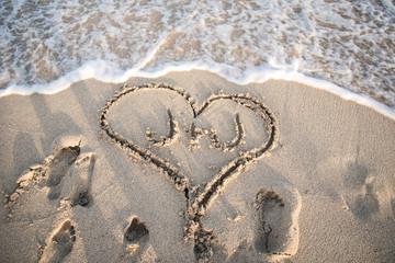 Sand Heart on the Beach