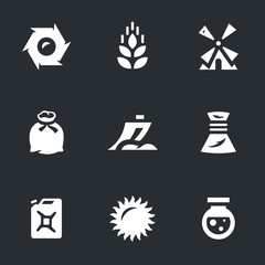 Vector Set of Wheat Icons.
