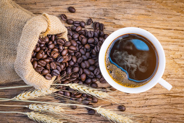 coffee bean,coffee cup on wooden table