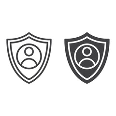 Shield with person line and solid icon, outline and filled vector sign, linear and full pictogram isolated on white. User account protection symbol, logo illustration