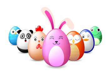 Animal oval characters design. Rabbit, hen, owl, penguin, panda, frog, Illustration isolated on white background.