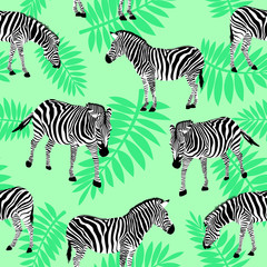 Zebra on nature green background. Seamless pattern. Wild animal texture. design trendy fabric texture,  illustration.