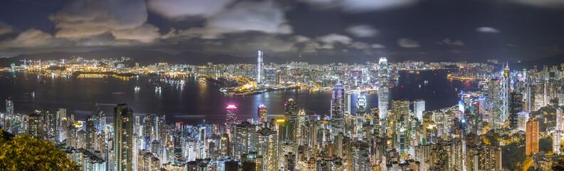 Hong Kong Panorama Skyline at night, view from The Peak