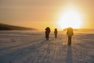 Tourists in Russian Lapland, Kola Peninsula
