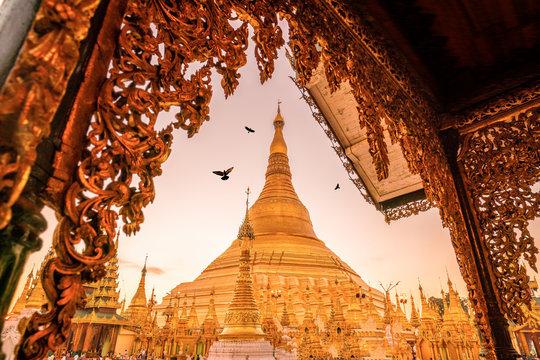 Sunrise at the Shwedagon Pagoda in Yangon